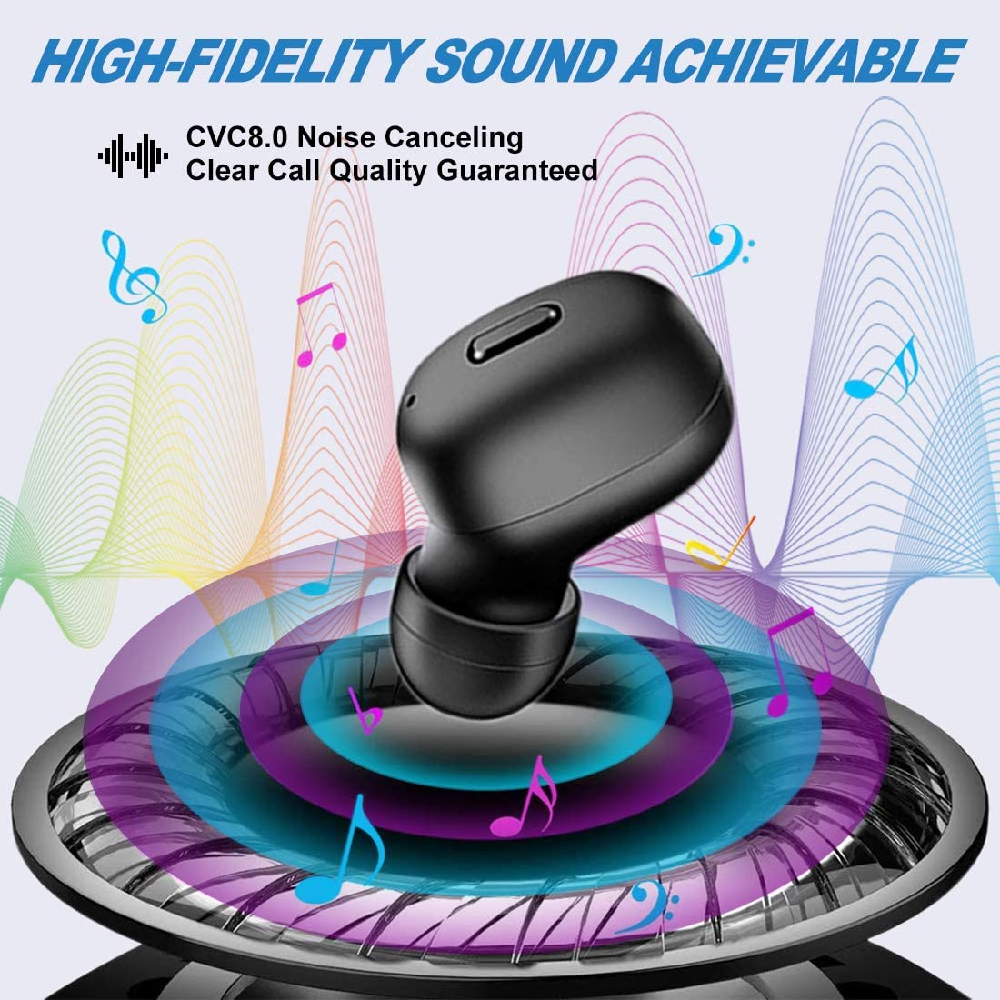 Black CVC 8.0 Noise Cancelling Earbud 12 Hours Playtime Wireless Earbuds Bluetooth 5.0 Headsets with Charging Case Single Bluetooth Earbud Built-in Mic Hi-Fi 3D Stereo Sound Earbud for Sport