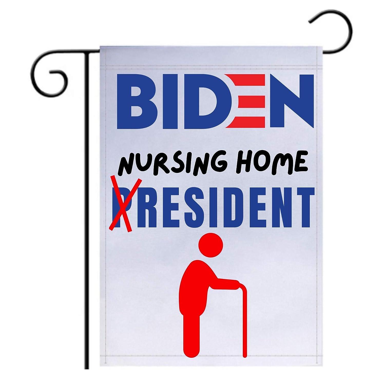 Pesky Patriot Joe Biden Nursing Home Resident Garden Flag | Funny Anti Biden 12x18 Double-Sided Flag Banner for Lawn and Garden | Great Gift Idea for Trump Supporter Republicans