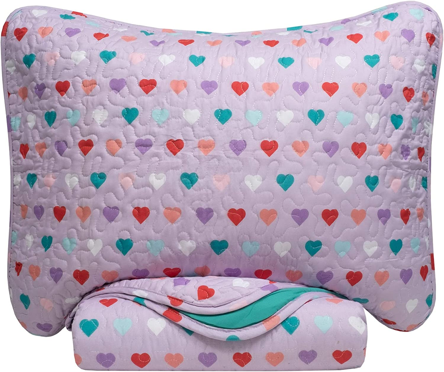 Sweet Home Collection 3 Piece Quilt Set Kids Design Fun Colorful and Comfortable Boys and Girls Toddler Hypoallergenic Soft Bedding, Full/Queen, Hearts