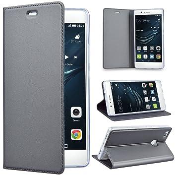 SmartLegend Huawei P9 Lite Funda P9 Lite Carcasa Elegancia Folio Funda de Piel para Huawei P9 Lite PU Vintage Relieve función Soporte TPU Cover Flip ...