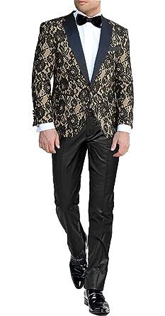 37bc184b282c George Herren Anzug Jacke Einzigartiger Spitzenstoff Party Smoking Schal  Revers Anzüge Anzugjacke 229  Amazon.de  Bekleidung