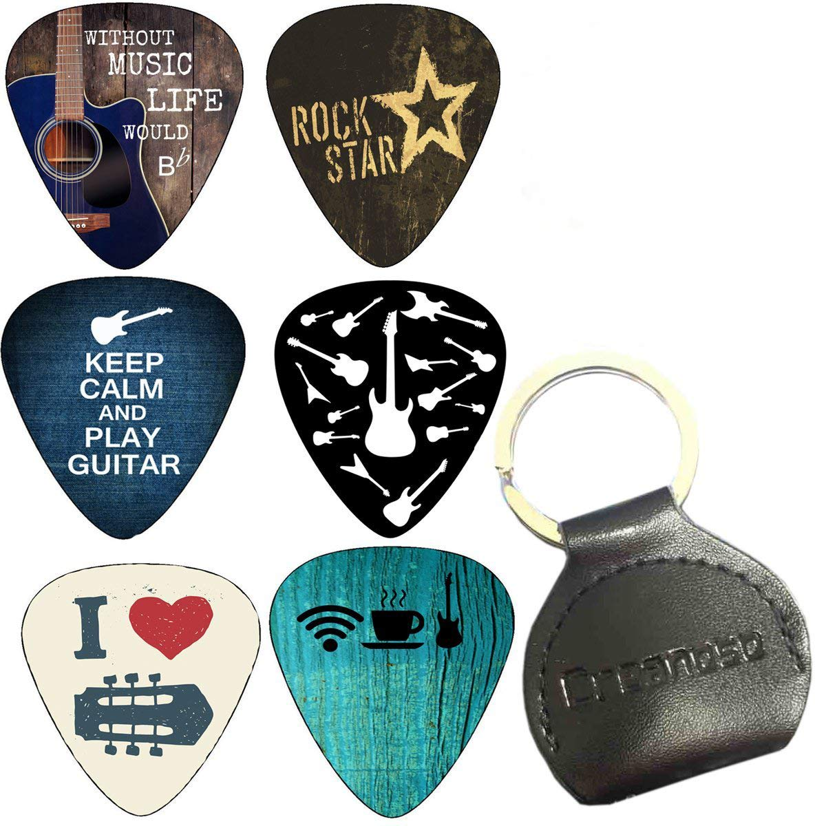 Creanoso Cool Guitar Picks Heavy (12-Pack) - FREE Leather Pick Holder - Heavy 0.96mm Celluloid - Assorted Unique Design - for Electric Guitar, Acoustic Guitar, Mandolin, and Bass 6.61E+11