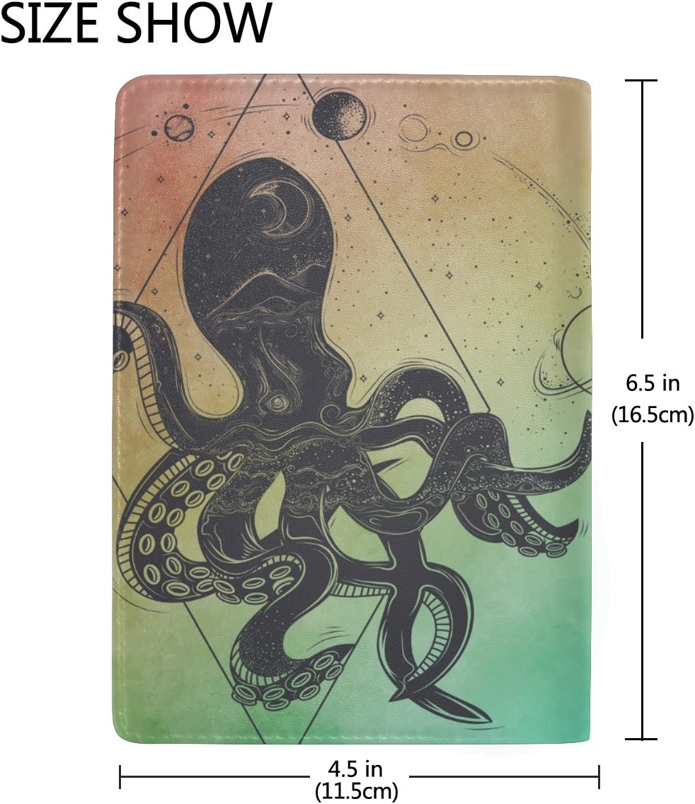 Art Octopus Genuine Leather Passport Holder Wallet Case Cover for Men Women