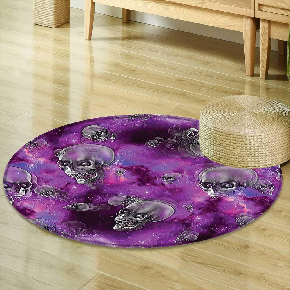 Round Area Rug Carpet Skull Decor Horror Movie Themed Flying Skull Heads Halloween in Outer Space Image Black and Purple Room Bedroom Hallway Office Carpet R-47