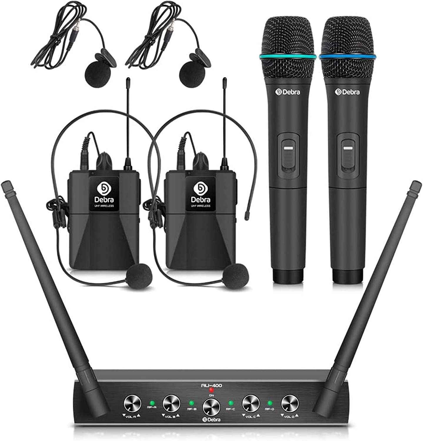 Debra Audio Pro UHF 4 Channel Wireless Microphone System with Cordless Handheld Lavalier Headset Mics, Metal Receiver, Ideal for Karaoke Church Party (with 2 Handheld & 2 Bodypack (A)): Home Audio & Theater