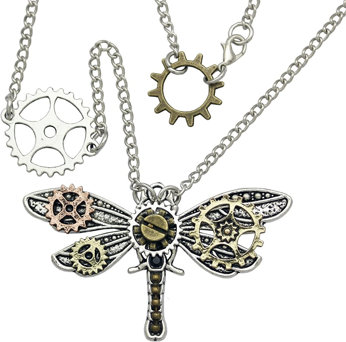 Antique Bronze Insect Art Xmas Gift Dragonfly Steampunk Clock Pendant Necklace