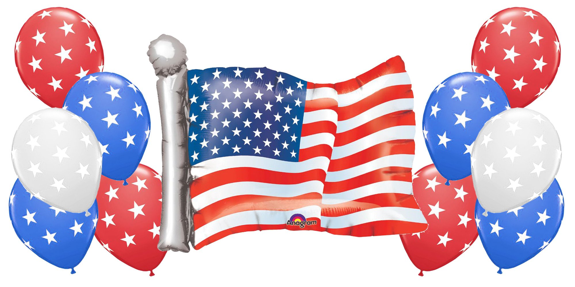 American Flag with 10 Red White and Blue Star Balloons Patriotic Bundle