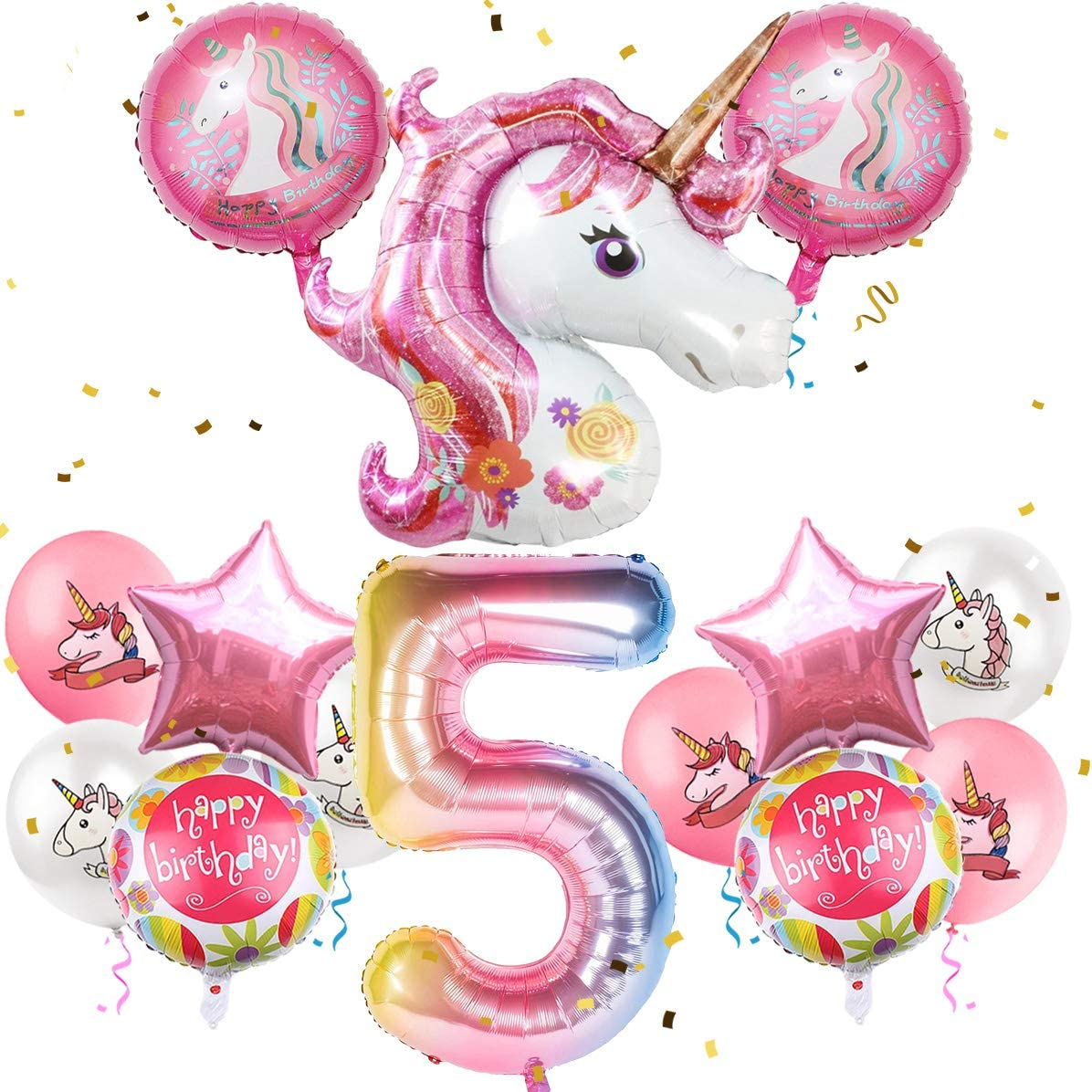 MOVINPE Unicorn Balloons Birthday Party Decorations for Girls 5th Party, 43