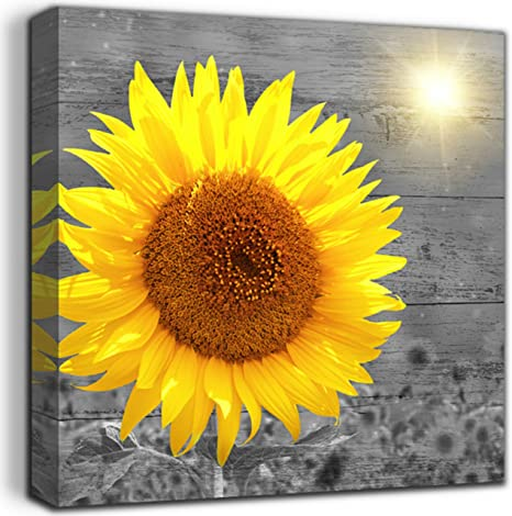 Amazon Com Canvas Wall Art Sunflower Bathroom Decor Wood Black And White Rustic Farmhouse Kitchen Yellow Flower Framed Artwork Office Wooden Board Modern Home 12 X12 Ready To Hang