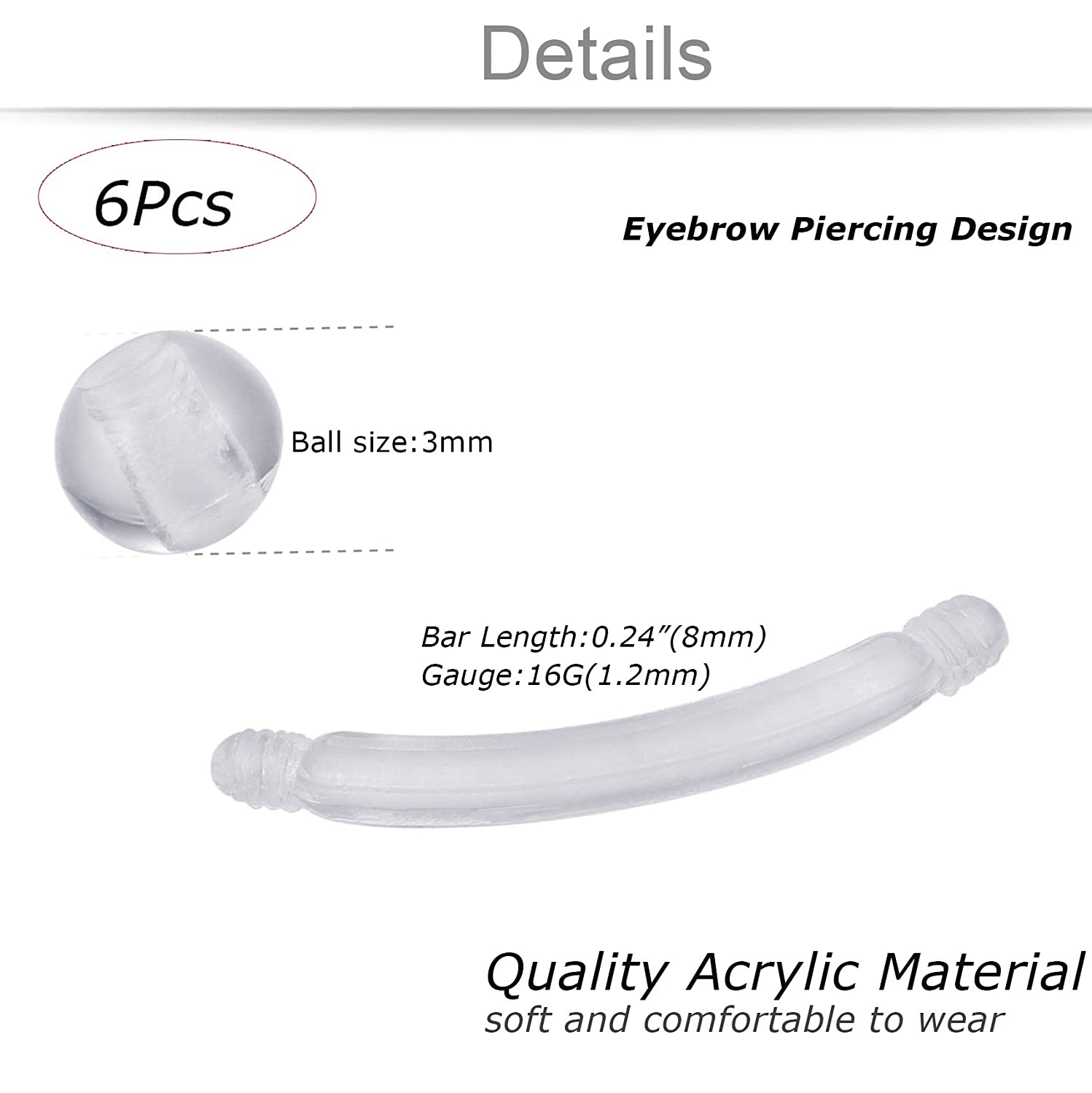 Amazon Jstyle 24pcs Acrylic Body Piercing Jewelry Clear Nose
