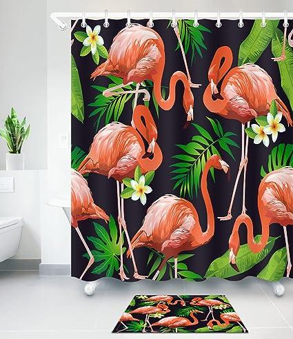 Amazon.com: LB Red Flamingo Tropical Palm Leaves Plumeria ...