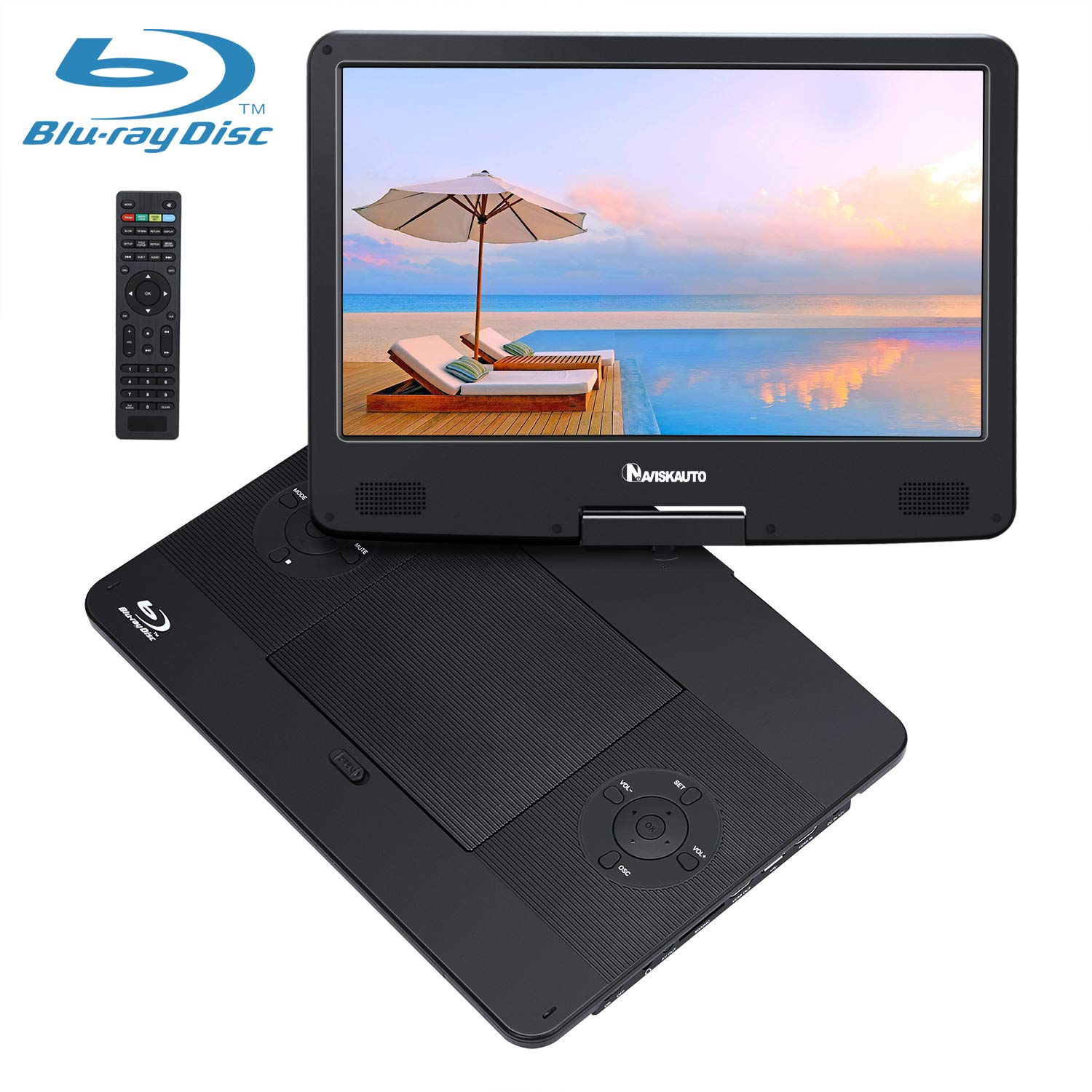 14 Inch Blu-Ray Portable DVD Player for Car Full HD 1080P with HDMI Output and Input, Dolby Audio, Rechargeable Battery, AUX Cable, Support USB and SD Card Playback