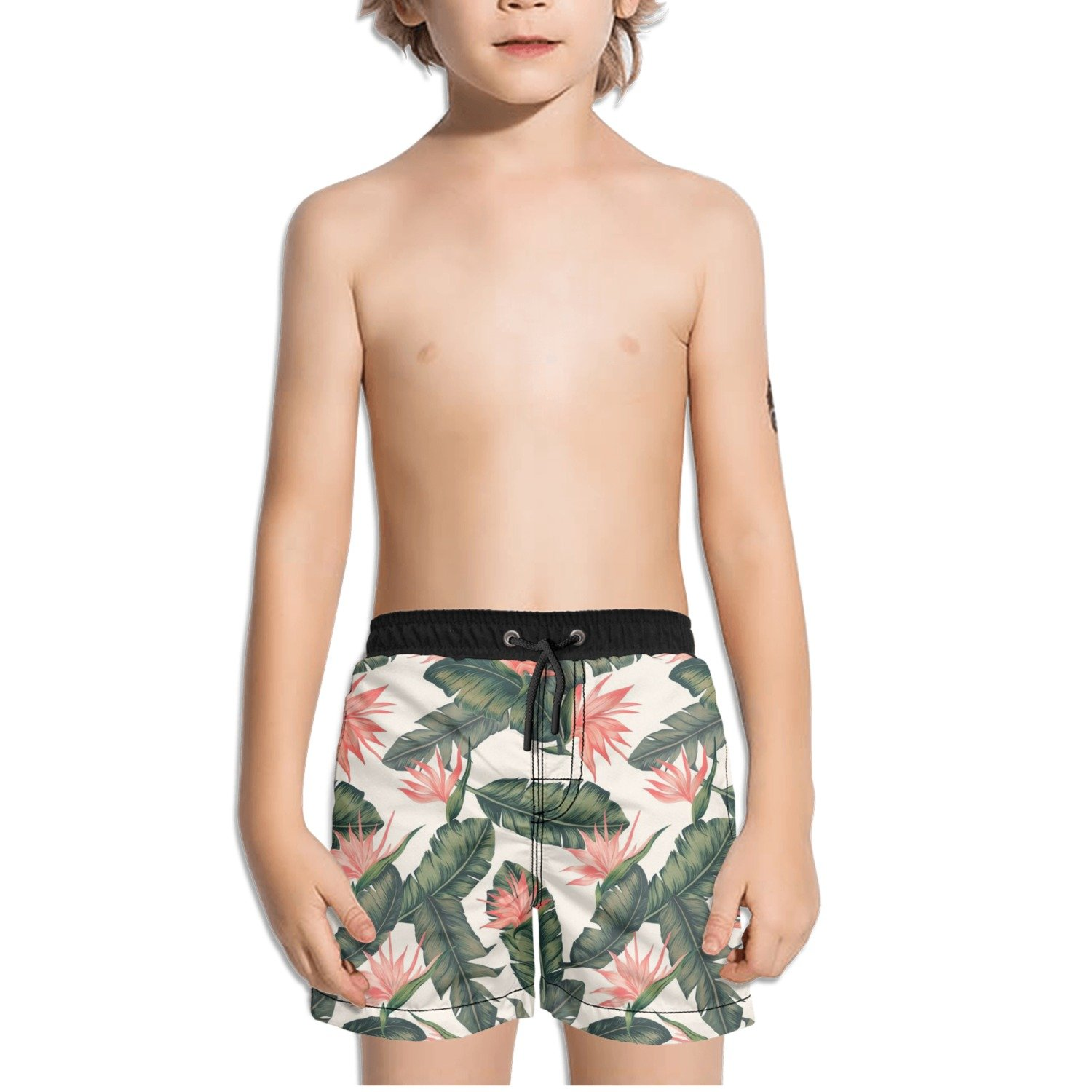 FullBo Tropical Bird of Paradise Little Boy's Short Swim Trunks Quick Dry Beach Shorts