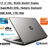 "Flagship Model HP 17.3"" Premium High Performance HD+ WLED-Backlit Laptop, Intel Core i3-5005U, 6GB RAM, 1TB HDD, Windows 10"