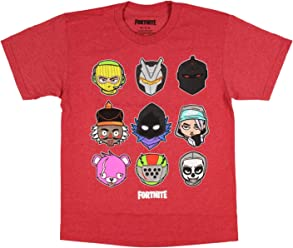 d17f7c88 Fortnite Shirts Chibi Character Grid Graphic for Boys Video Game Fan Heather