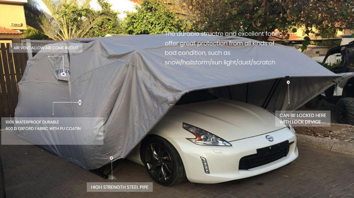 Super Sturdy Carport - Car Shelter - Heavy Duty Portable lockable Carport Protecting Auto from All Weathers (Small-Car-Shelter-Size)