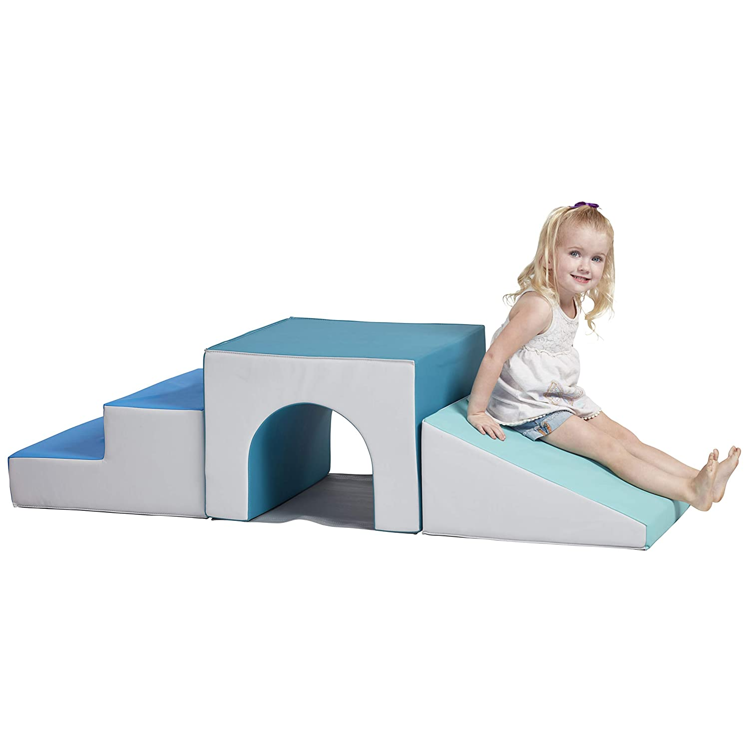 ECR4Kids SoftZone Single-Tunnel Foam Climber, Freestanding Indoor Active Play Structure for Toddlers and Kids, Safe Soft Foam Play Set, Easy to Assemble, Contemporary