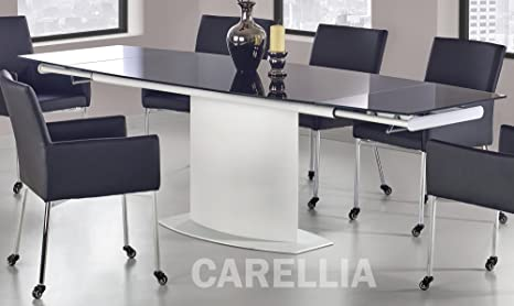 CARELLIA Mesa a Comedor diseño Extensible 160 ÷ 250/90/76 cm - Negro ...