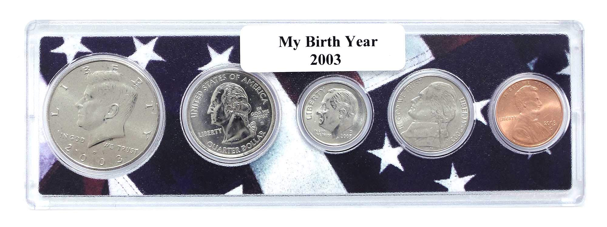 2003 5 Coin Birth Year Set in American Flag Holder Uncirculated