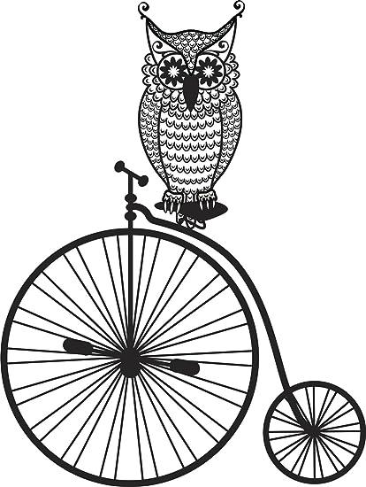 Amazon.com: Pretty Flower Owl on Bicycle Cartoon Vinyl Decal ...