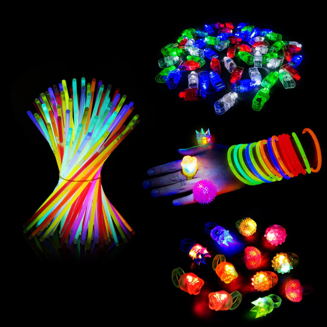 148 Pcs LED Glow in the Dark Party Favors Pack. 8'' Glow Sticks Bracelet Mixed Colors Tube of 100, 36 LED Finger Lights, 12 LED Flashing Bumpy Rings for Party Birthday Celebration by Light Up My Party
