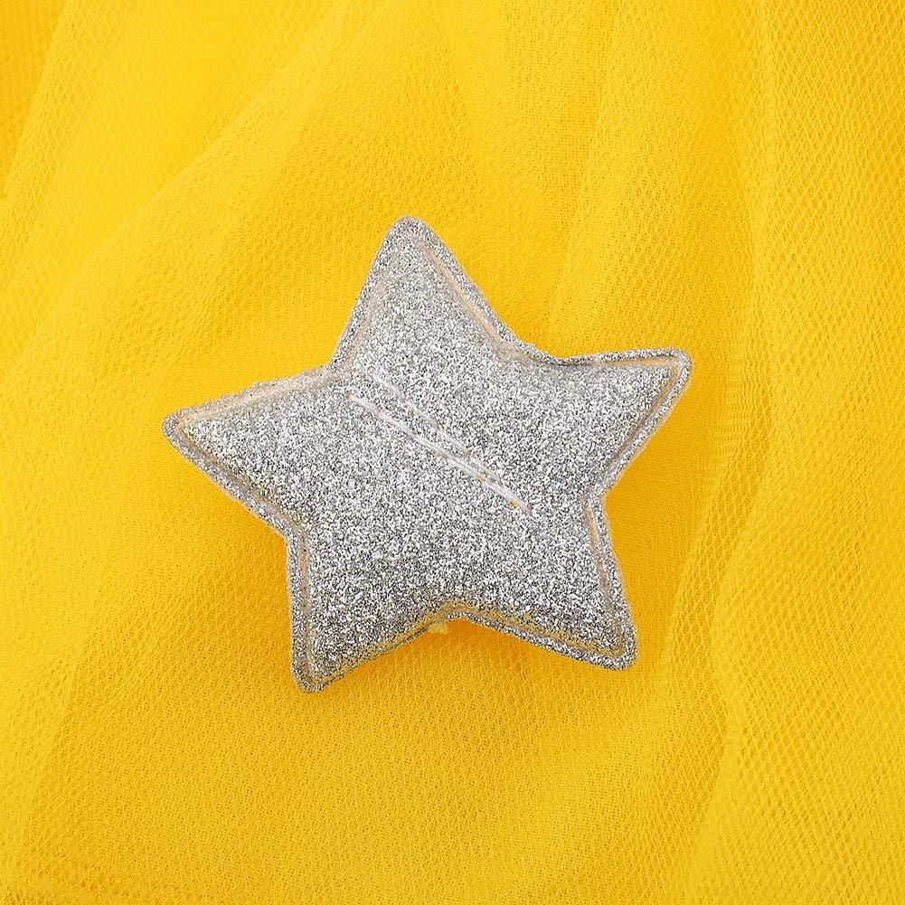 70-Amarillo Vestido de tut/ú de punto con mangas largas para beb/és Vestido de tul con princesa infantil y falda con mezcla de algod/ón con cintura de estrellas para ni/ños