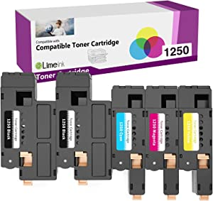 Limeink 5 Pack Compatible High Yield Toner Cartridges Replacement for Dell 1250 Laser Printers 1250c 1350cnw 1355cn 1355w 1355cnw C1760nw C1765nf C1765nfw C1760 (2 Black, 1 Cyan, 1 Magenta, 1 Yellow)