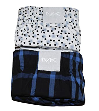 220d7a21436c62 Michael Kors Men's 2 Airsoft Touch MK Woven Boxers (Large) Boxer Shorts  (Blue Gingham, Dots) at Amazon Men's Clothing store: