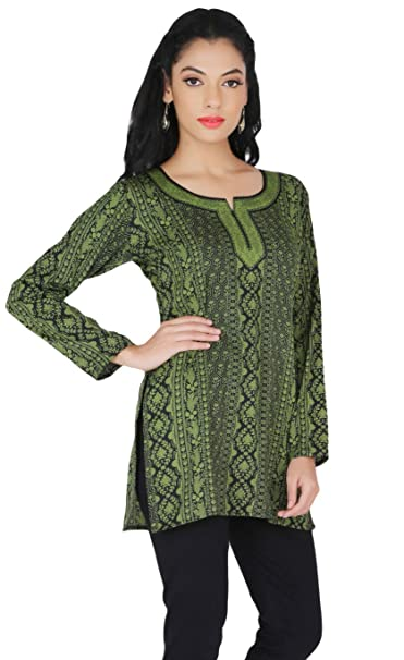 India Túnica Top Kurti Womens Impreso Blusa India Ropa - Verde -