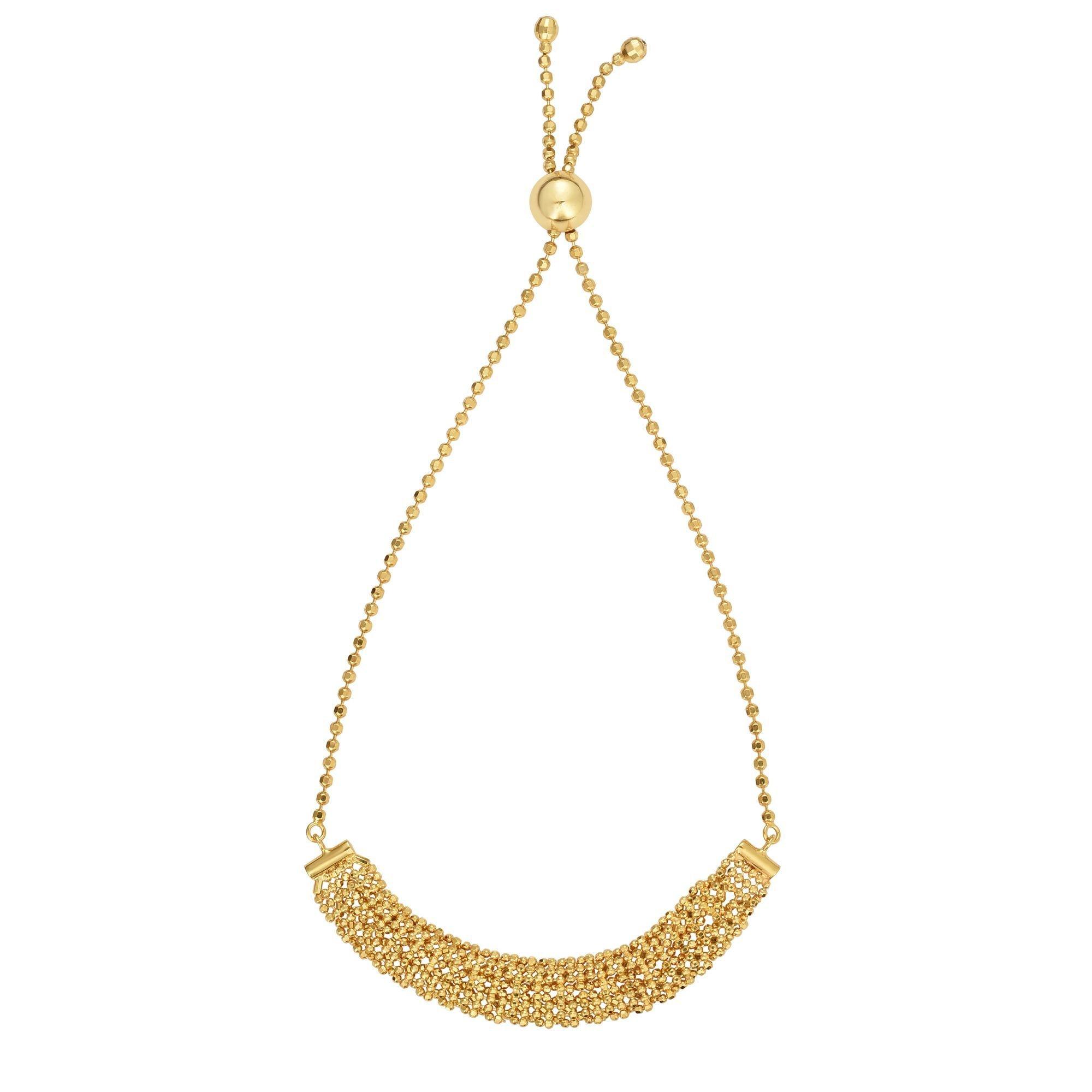 BH 5STAR 14kt Gold 9.25'' Yellow Finish Shiny+Diamond Cut Adjustable Bracelet with Draw String Clasp