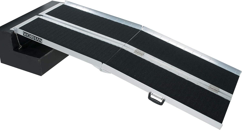 WORHAN® 1.83m Rampa Plegable Carga Silla de Ruedas Discapacitado Movilidad Aluminio Anodizado Modelo de Alta Adherencia 183cm R6J