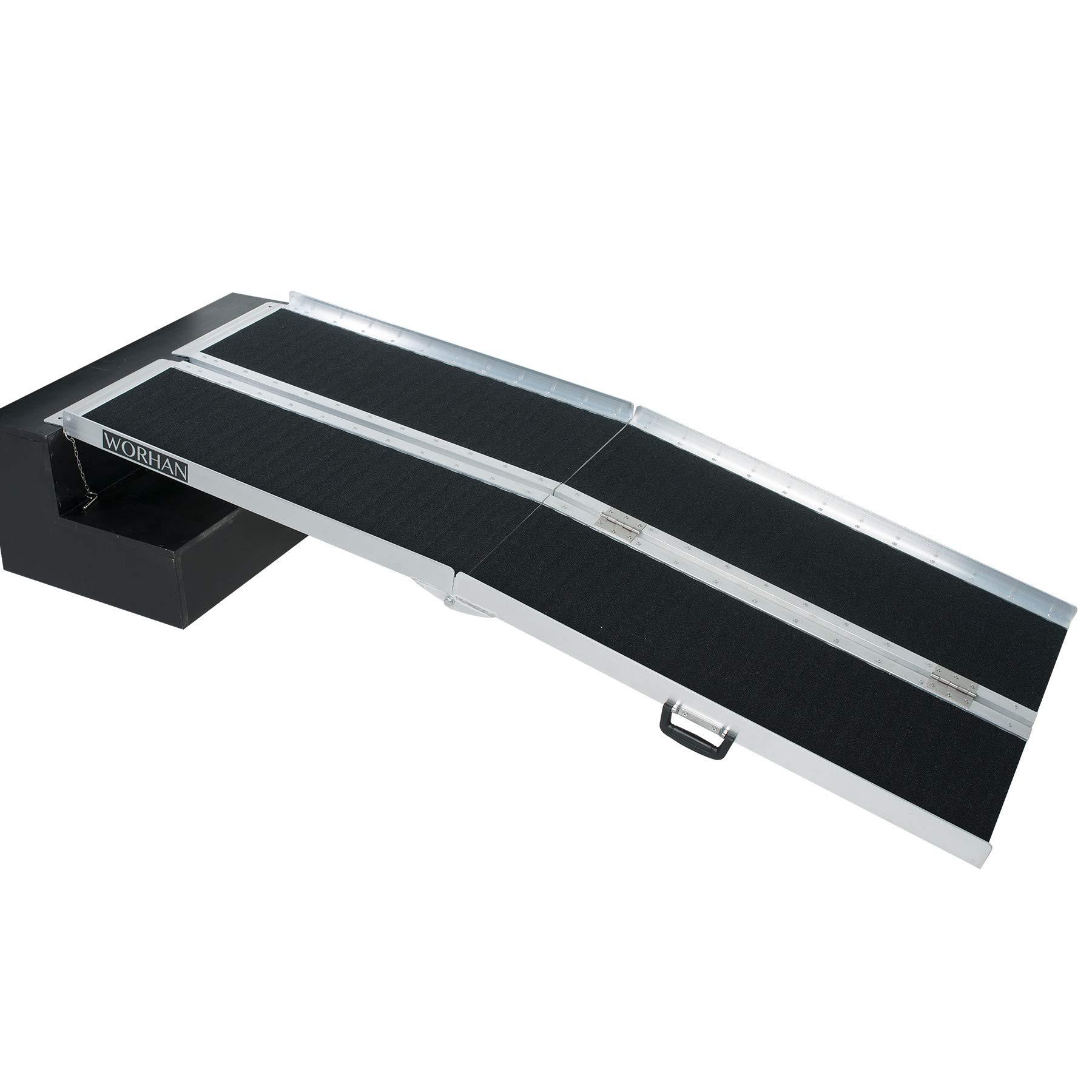 WORHAN® 1.83m Rampa Plegable Carga Silla de Ruedas Discapacitado Movilidad Aluminio Anodizado Modelo de