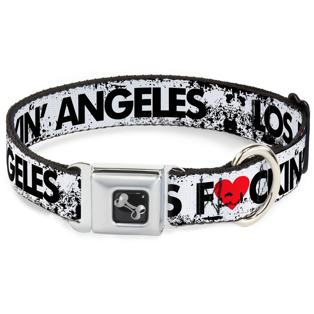 Buckle-Down 9-15  Los FCkin' Angeles Heart Weathered White Black Red Dog Collar Bone, Small