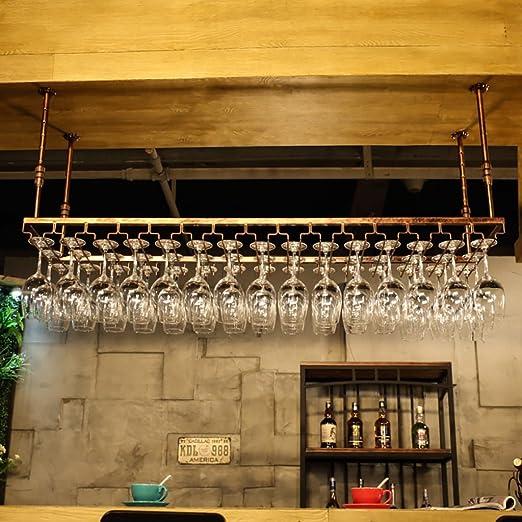 Color : Brown, Tama/ño : 60 * 35cm JHGJBJ Soportes para Copas Sostenedor del Vidrio de Vino Sostenedor del cubilete Colgando Estante del Vidrio de Vino Bar Escritorio Bar Club