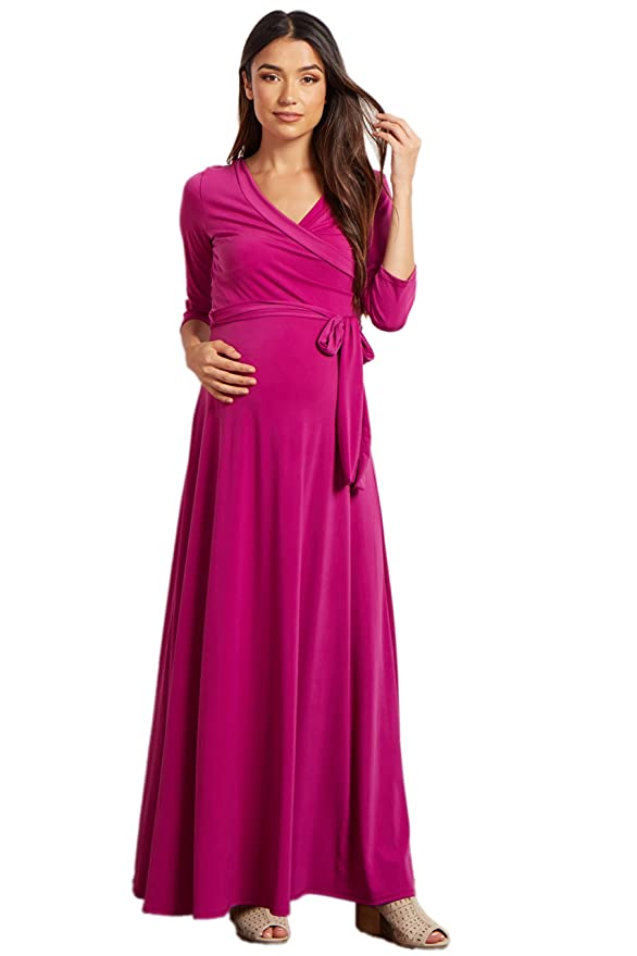 92b43a849f PinkBlush Maternity Magenta Draped 3 4 Sleeve Maxi Dress