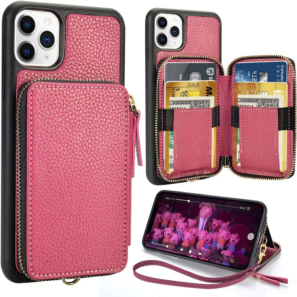 iPhone 11 Pro Wallet Case, ZVE iPhone 11 Pro 5.8 inch Zipper Wallet Case with Credit Card Holder Slot Wrist Strap Protective Handbag Purse Case for Apple iPhone 11 Pro 5.8''(2019)- Rose Purple
