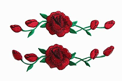 751096251e1 Yonisun 2 Pcs Applique Patch Rose Flower Embroidery Iron On Flower Appliques  for Craft
