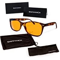 "Swanwick Sleep Blue Light Blocking Glasses - FDA Registered Gamer Glasses and Computer Eyewear for Deep Sleep - Digital Eye Strain Prevention - (For Kids) - Bonus Book""7 Ways To Sleep Better"""