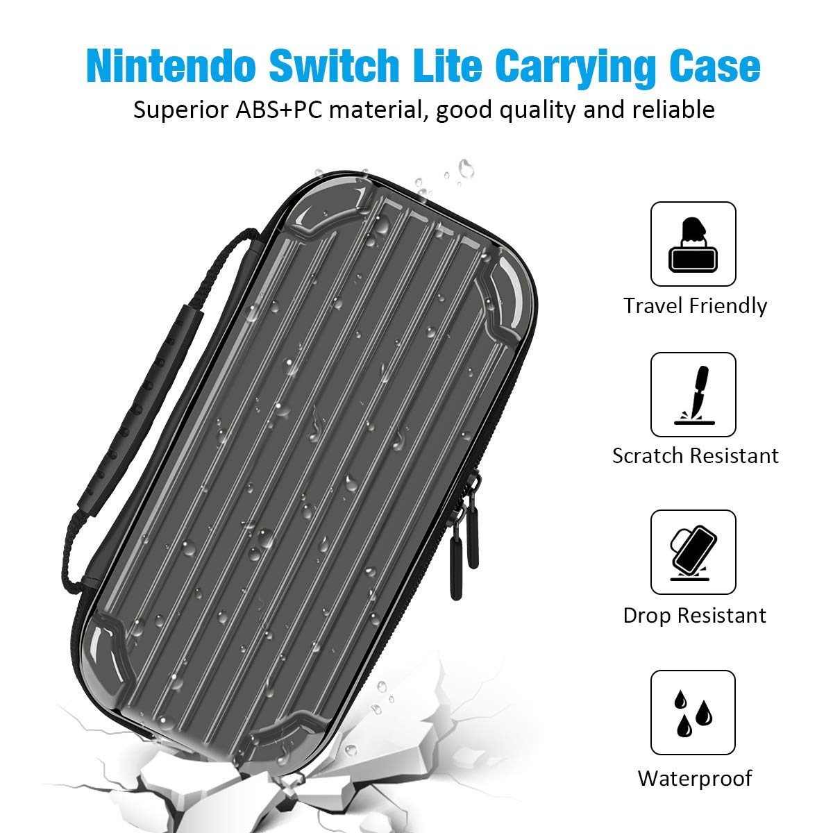 Carrying Case for Nintendo Switch Lite, Y Team Switch Lite Case with 10 Game Cartridge Storage Holders and 1 Tempered Screen Protector for Nintendo Switch Lite Console and Accessories (Grey)