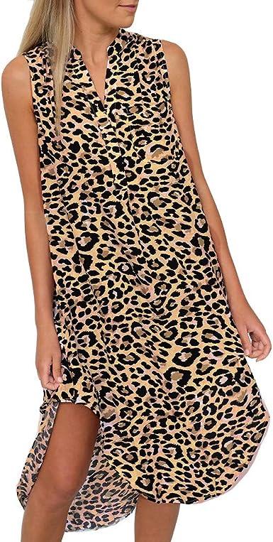 Vestidos Mujer, ASHOP Leopardo Impresión Sin Mangas Vestido de ...