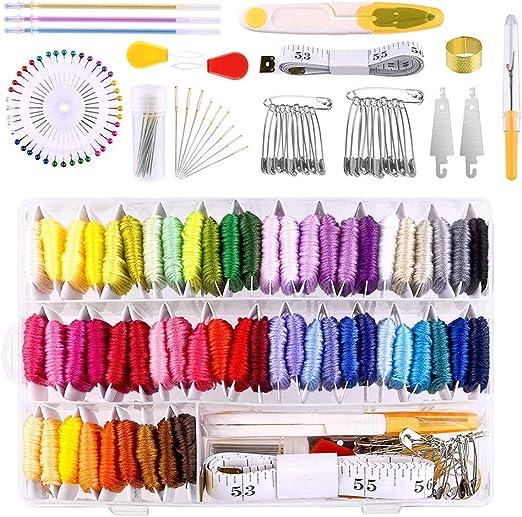 158 piezas hilo de bordar 57 hilos de bordado y kit de ...