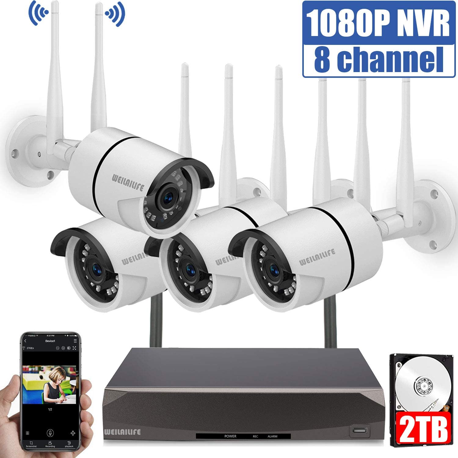 Security Camera System Wireless 1080P Outdoor Home Waterproof 2TB Hard Drive Kit