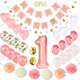 1st Birthday Girl Decorations   Baby Girl First Birthday Decorations Set   Pink and Gold First Birthday Decorations Girl Pink # 1 Balloon Pom Poms Birthday Banners Balloons Heart Garland