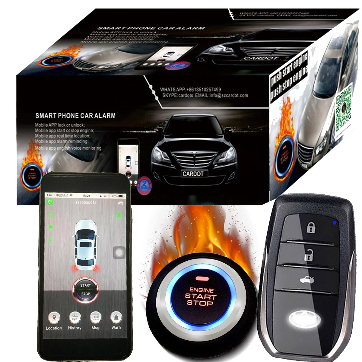 Easy Installation Car Alarm System With Remote Start Online Real Time GPS Tracking Voice Monitoring Car