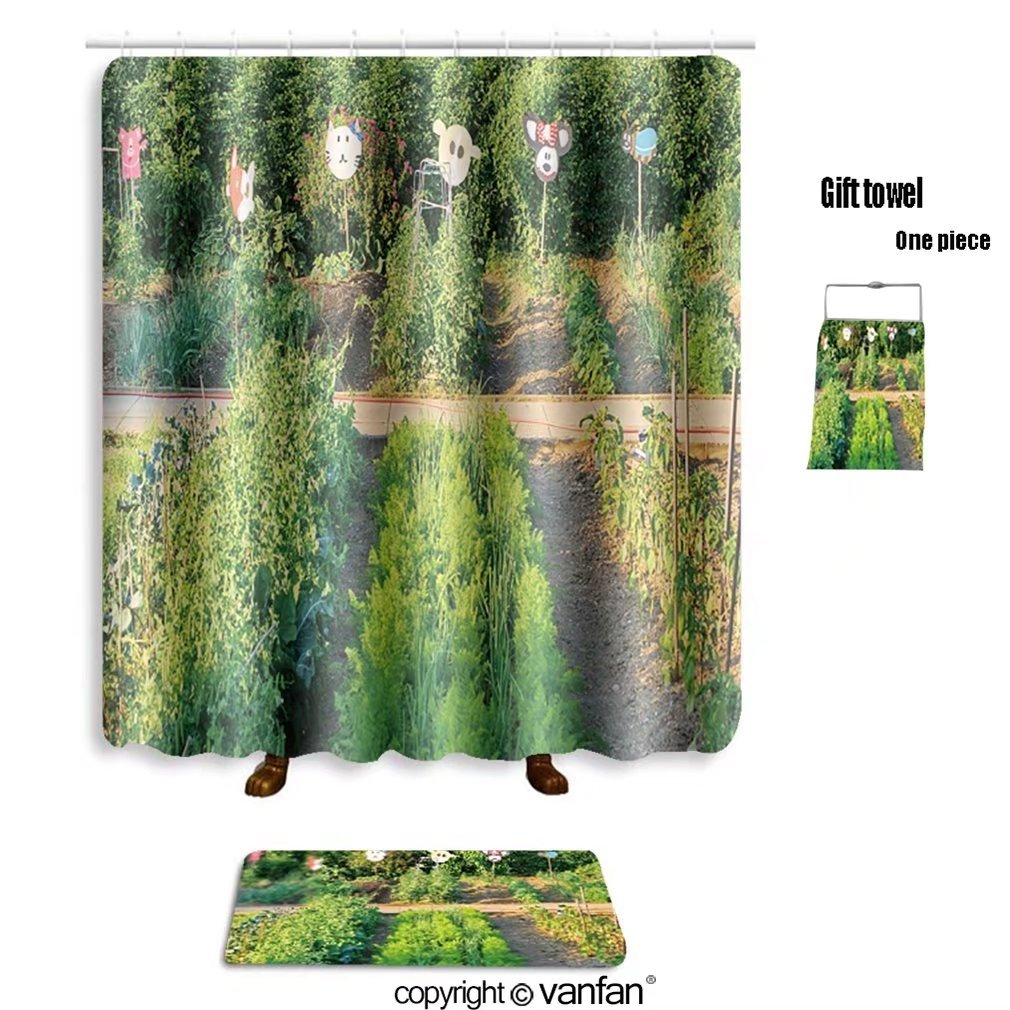 vanfan bath sets Polyester rugs shower curtain Many different vegetables in the school garde shower curtains sets bathroom 69 x 72 inches&23.6 x 15.7 inches(Free 1 towel 12 hooks)