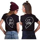 JWBBU Best Friends Sister T-Shirt mit Aufdruck Halb-Herz für Zwei Damen Mädchen BFF Sommer Weiß Schwarz Geburtstagsgeschenk 2 Stücke Tops