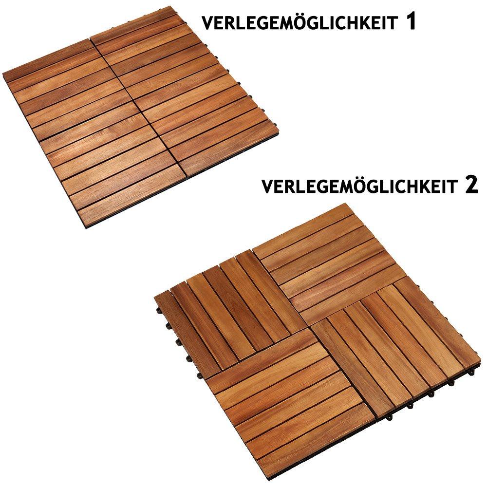 3m/² Fliese 30x30 cm Stecksystem Mosaik FSC/®-zertifiziertes Akazienholz Deuba 33x Holzfliesen Akazie Zuschneidbar Terrasse Balkon