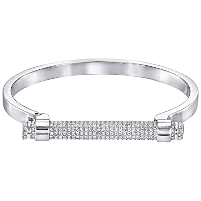 Swarovski women's bracelet, platinum-plated crystal, round cut, clear (5216925)