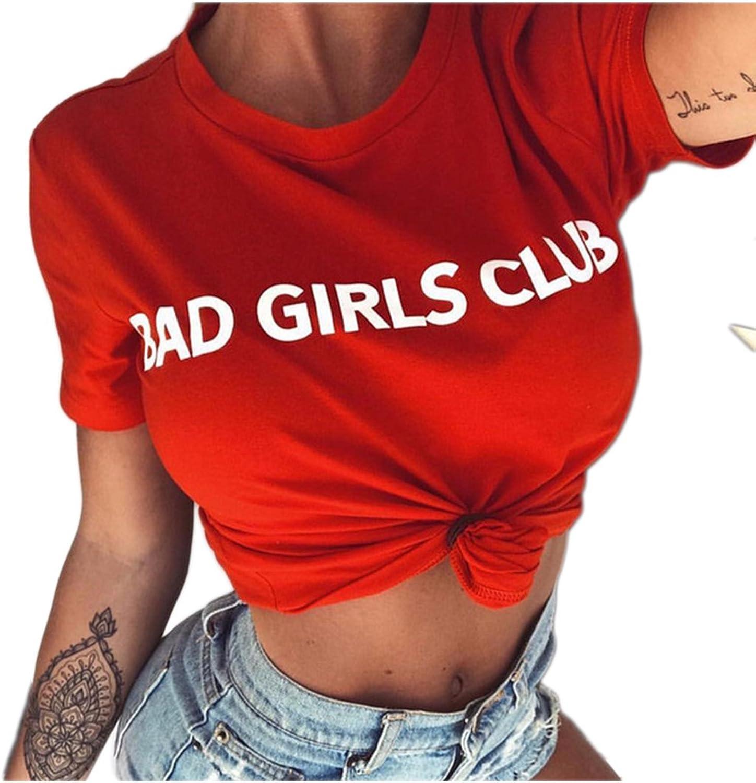 Yacun Womens Crop Tops T-Shirt Bad Girls Club Print Short Sleeve Tees