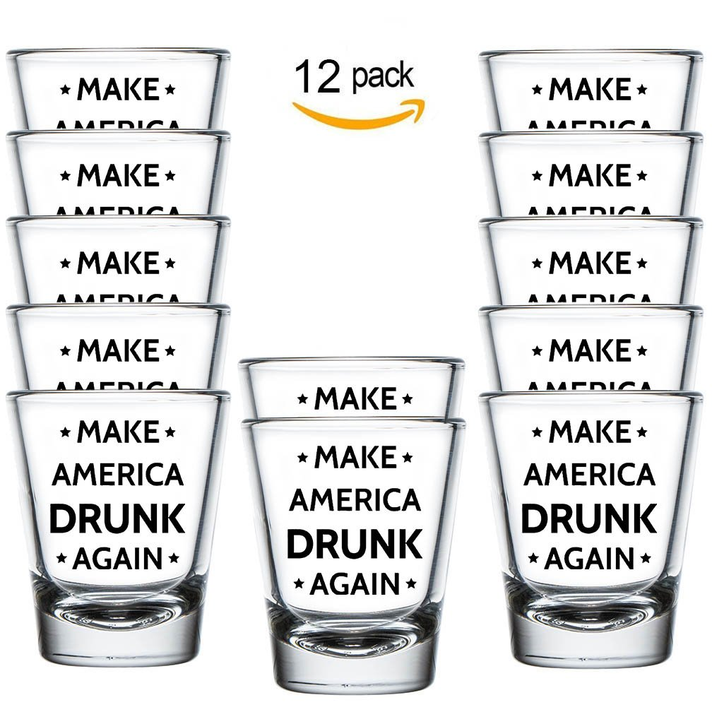 Shop4Ever Make America Drunk Again Shot ~ Trump ~ (Shot, 1.5 oz.) (12 Pack)
